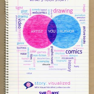 A pink and blue venndiagram with various words around it on a pad of notebook paper.