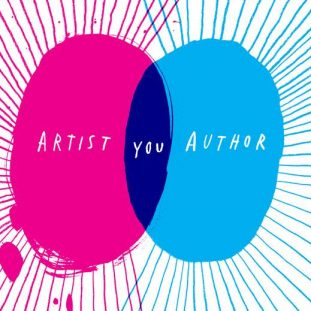 "A scribbled Venn diagram shows a pink oval reading ""Artist"" colliding with a teal oval reading ""Author"". The word ""You"" is in the overlapped purple center."