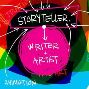 A multicolored Venn diagram overlaps different types of art with arrows pointing toward the center, which reads Storyteller and then Writer plus Artist.