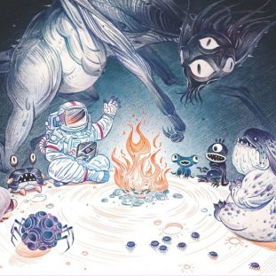 Illustration of different creatures sitting around a fire.