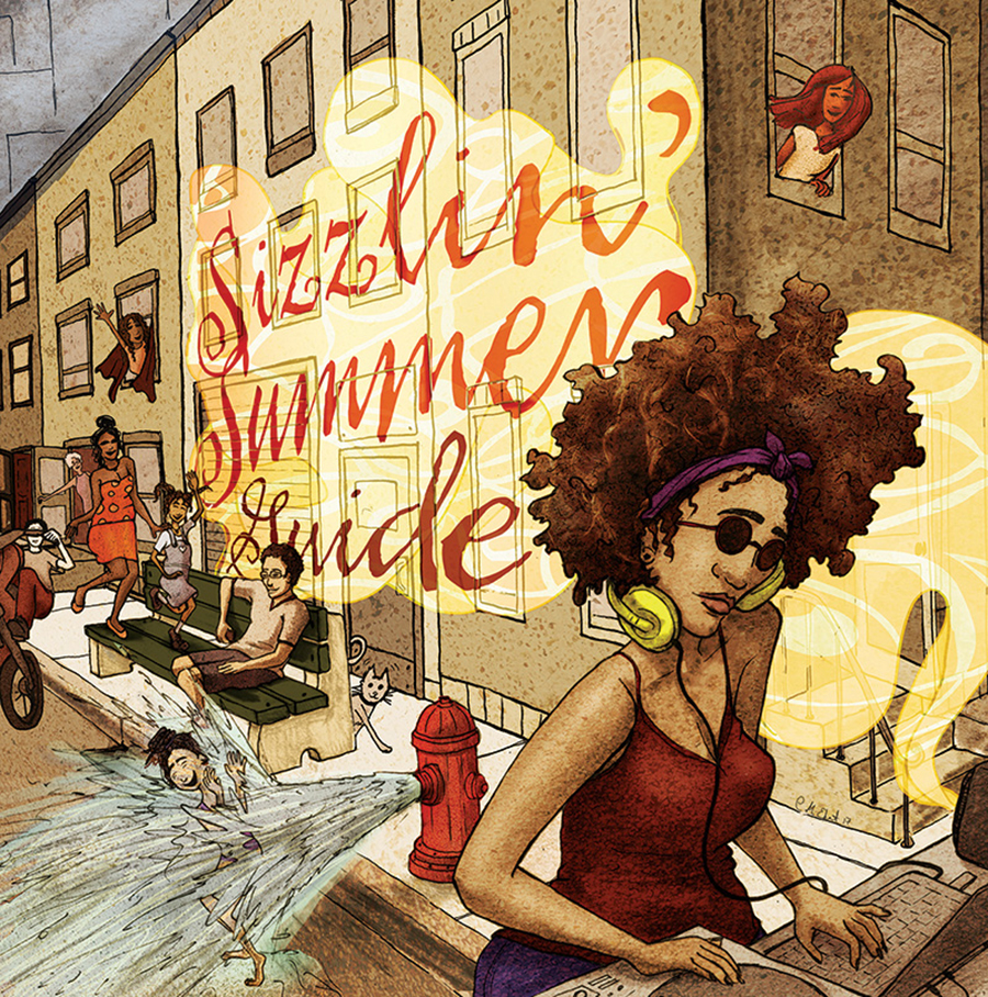 "Illustration of a woman with gorgeous afro walking down a city street. The words ""Sizzling Summer"" are painted on the wall of a building in the background."