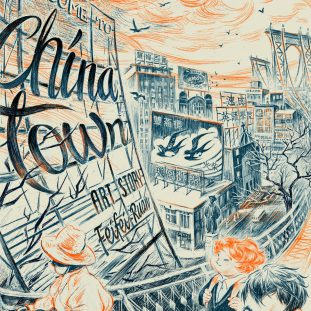 Blue and orange illustration of Chinatown landscape.