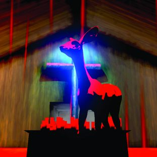 Illustration of a deer with red lighting against a glowing cross background.