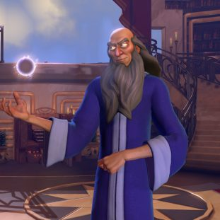 A 3D illustration shows a wizard with medium skin, a long gray beard, and purple robes suspend a ball of light above their palm. Behind them is a room filled with books and a spiral staircase that leads toward a balcony.