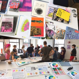 Photograph of a group of people standing in the risoLAB, along with photographs of various risograph works.