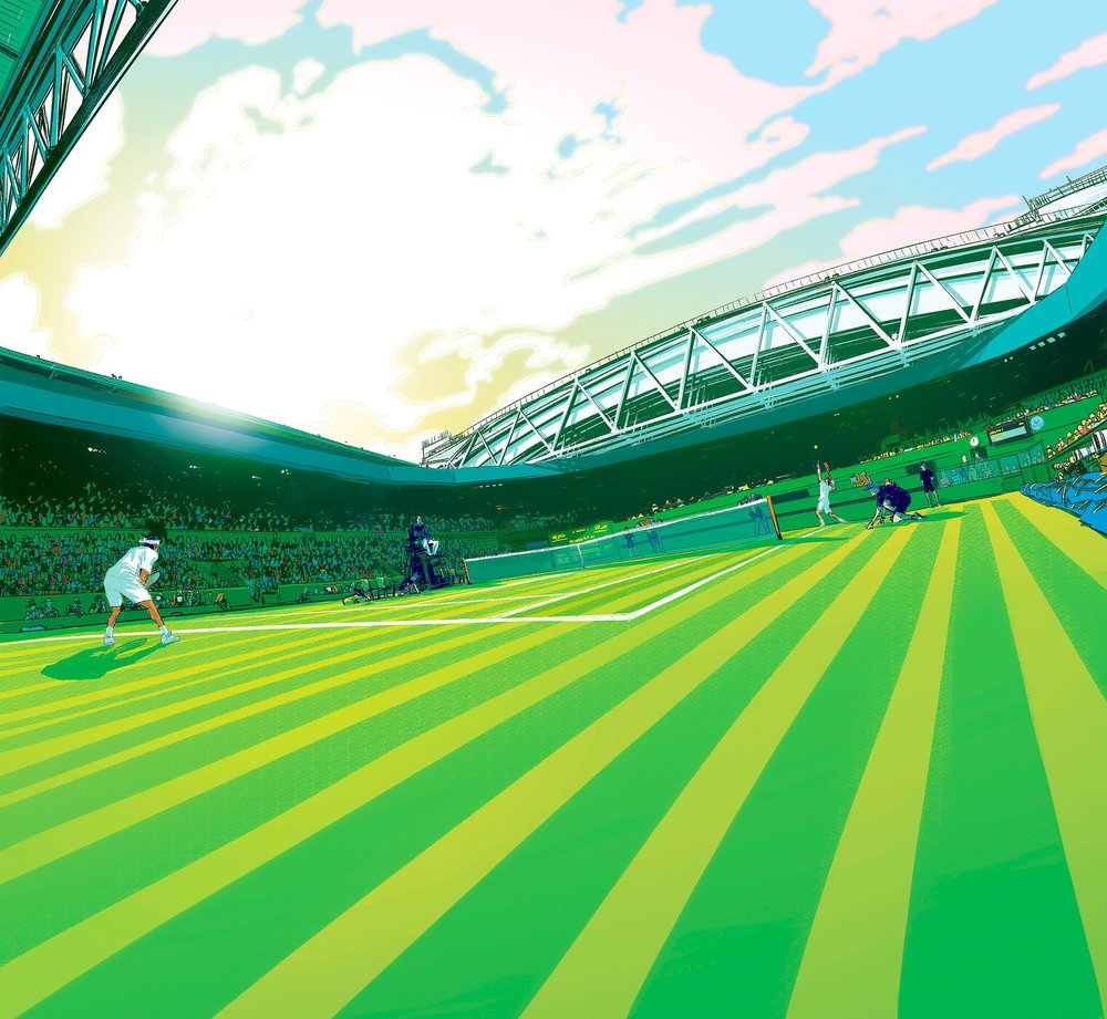 An illustration in shades of bright green and teal shows a graphic worm's eye view of a tennis field. Two players begin their match surrounded by a crowded stadium.