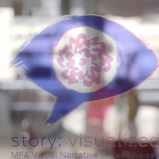 A blurred photograph shows abstract shapes of light. In the center is the SVA logo in translucent shades of magenta and indigo.
