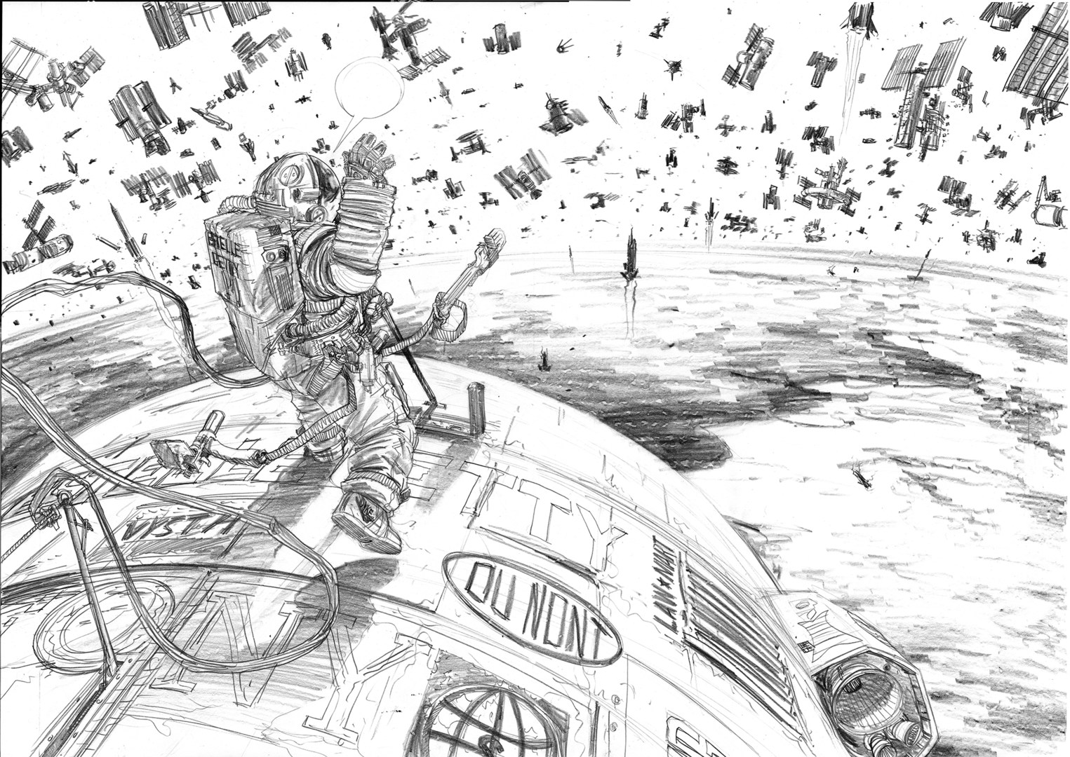 A gestural pencil drawing on white paper shows an astronaut tethered to a spacecraft, raising their hand and gazing at a background full of satellites and debris.
