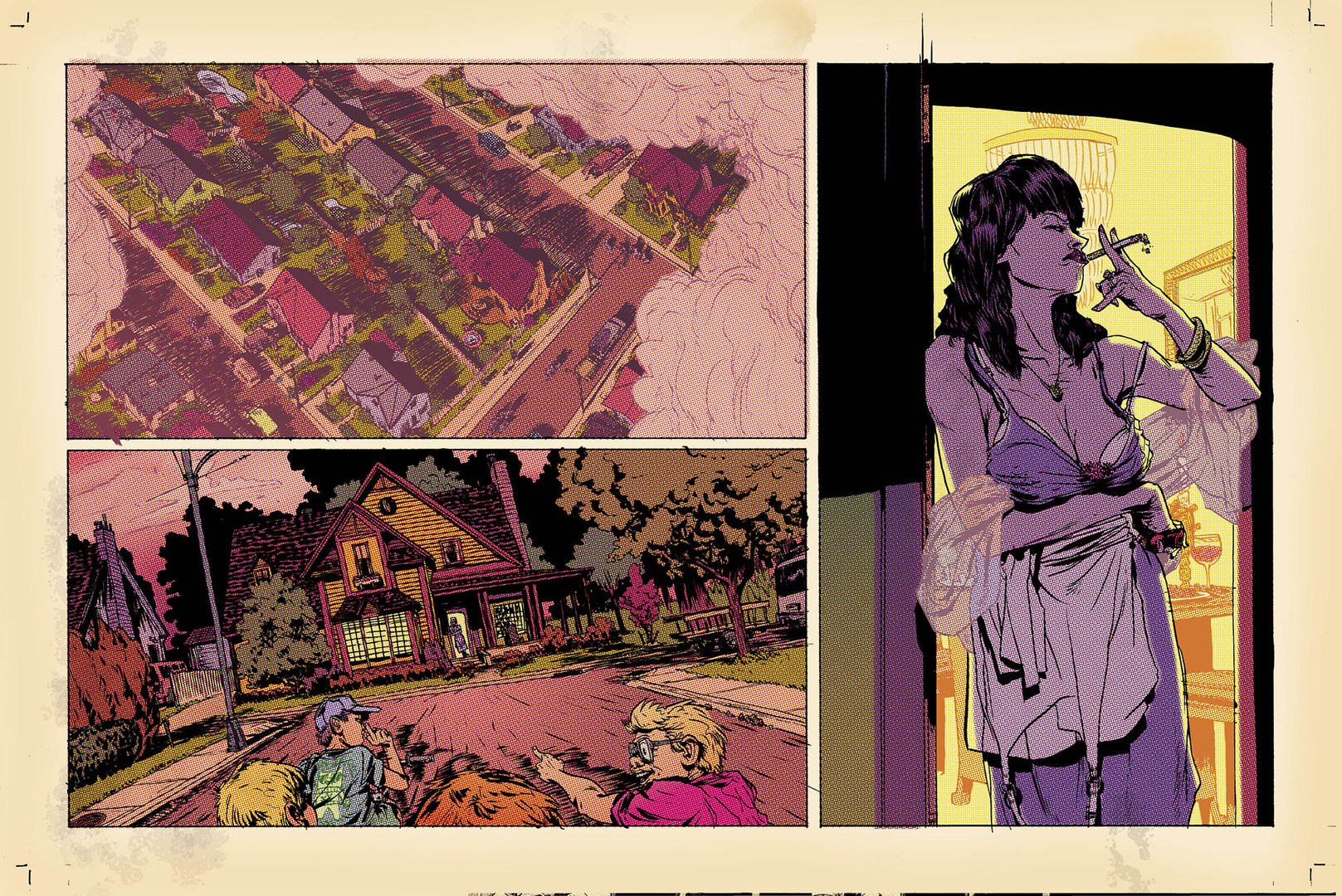 A comic spread shows three detailed panels in shades of red, green, purple, and yellow. The first panel shows an overhead view of a suburban neighborhood. The second shows figures pointing toward a yellow house. The third shows a scowling feminine figure with purple skin and dark hair smoking a cigarette in a neglige.