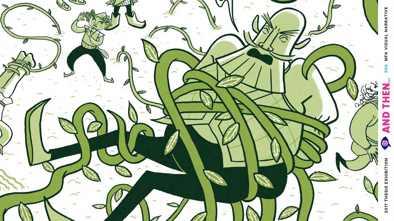 An illustration in green shows a bearded figure yelling as they're constricted with curling green vines. Behind them, vines attack other figures.