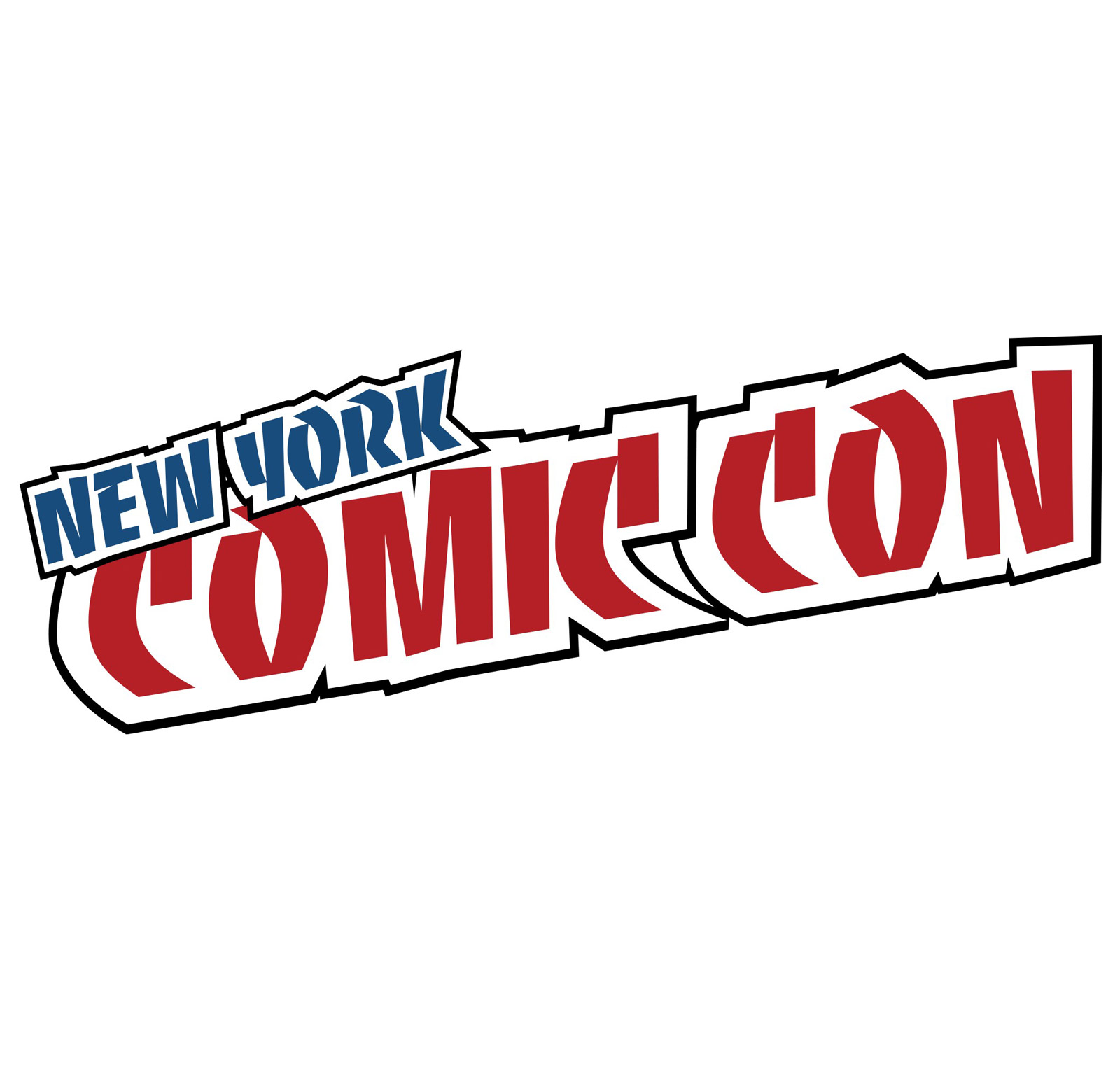 """A blue, red, and black logo reading """"New York Comic Con"""" in bold, funky text reads diagonally across a white background."""