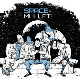 """A lineart illustration in black, white and blue shows a bored-looking group of figures sitting on a couch. Two seem to be human, while three appear to have alien heads. The title """"Space-Mullet!"""" appears above a planet shape in a futuristic font."""