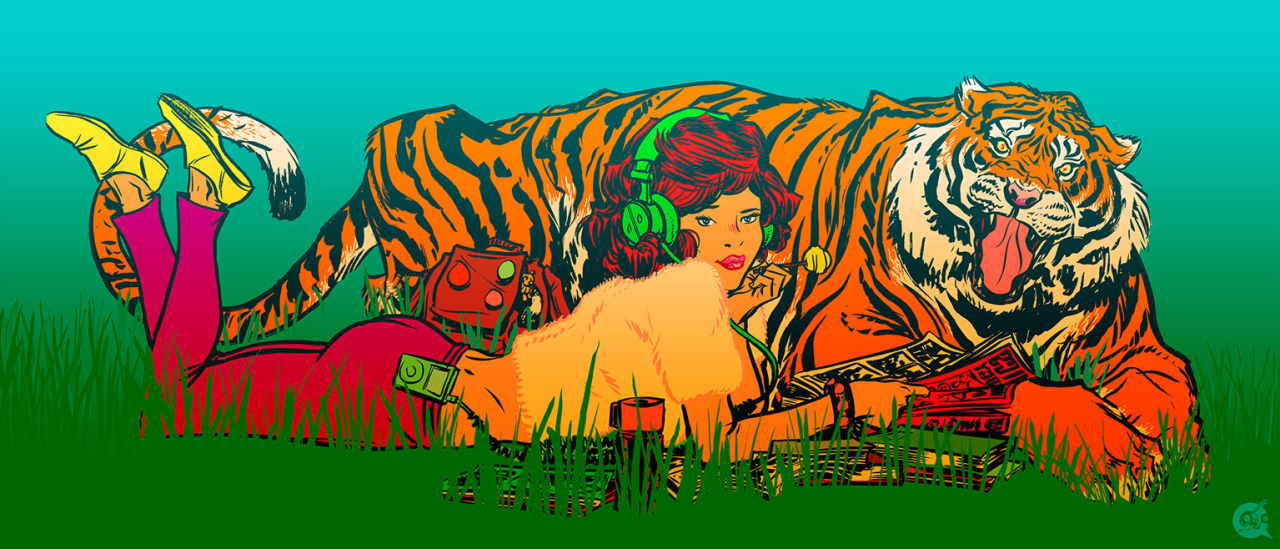 A graphic illustration shows a feminine figure with light skin, red hair, and bright green headphones flip through comic books while laying in the grass next to a large, growling tiger.