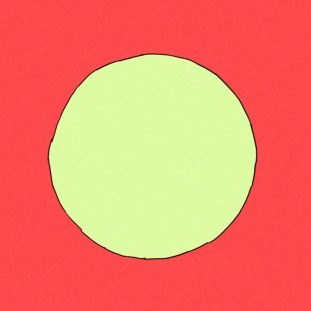 Red background with a yellow circle.