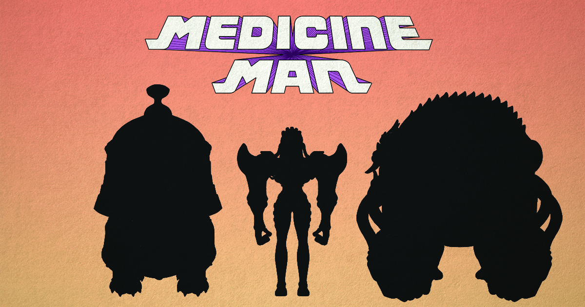 Three character silhouettes against an orange background.