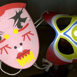 Two graphic masks.