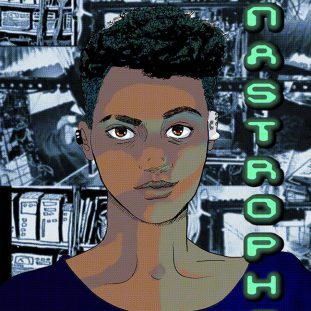 Face of a Black figure with short hair in front of a collage of computers.