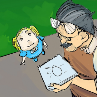 Illustration of a small white, blonde child looking up at an older man with a sketchpad.