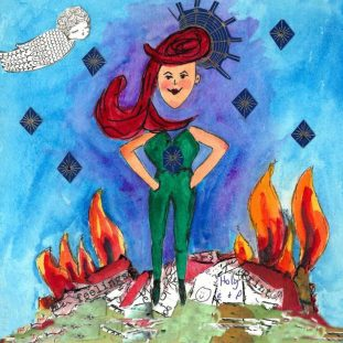 Illustration of a white red headed woman standing in front of burning flames.