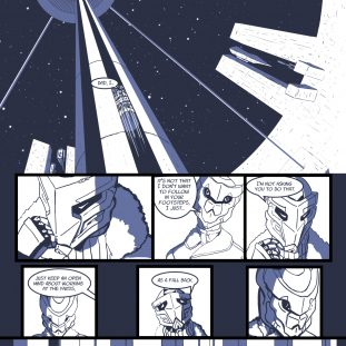 Comic panels of a robot.