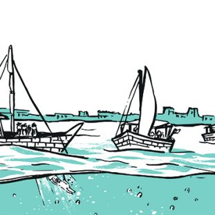 Illustration of boats on water.
