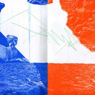 Blue and orange riso pages of a collaged seascape.