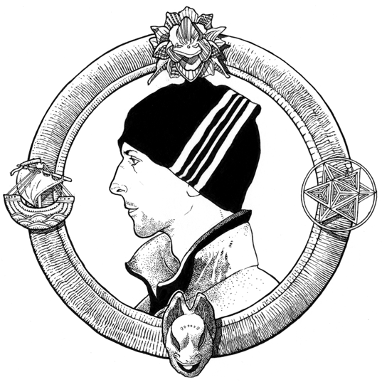 Illustration of a white man's profile, wearing a beanie, surrounded by a circular frame.