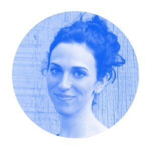 Blue monochromatic headshot of Jenny Goldstick.