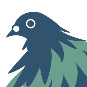Flat and graphic illustration of a pigeon facing left in desaturated dark blue and green.