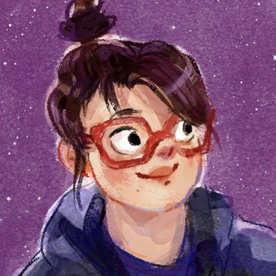 Illustration of a figure with light skin, brown hair tied in a ponytail, red glasses and hoodie looking towards the right against a purple background.