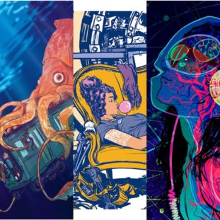 Three different color illustrations of a squid holding a subway car underwater, a girl laying on a yellow couch, and a blue figure facing left.
