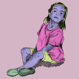 Pencil drawing of a small child with purple skin, shoulder length dark hair, pink shirt, yellow shorts and green shoes, sitting with her ankles crossed against a pink background.