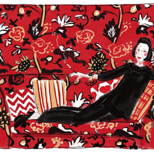 Illustration of a white woman with a black bob and black clothes, lounging with a cigarette on a red couch with a busy floral print that extends onto the red wall behind her.