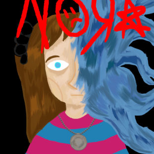Nora By Luz Rodriguez Dager, Illustration of a small child with light skin and brown hair, with abstracted blue wavy marks coming out of the right side of their face.