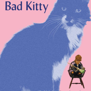 """Image for """"Bad Kitty,"""" depicting a monochromatic textured image of a cat next to a small sculpted figure sitting in a chair with a broom against a flat pink background."""