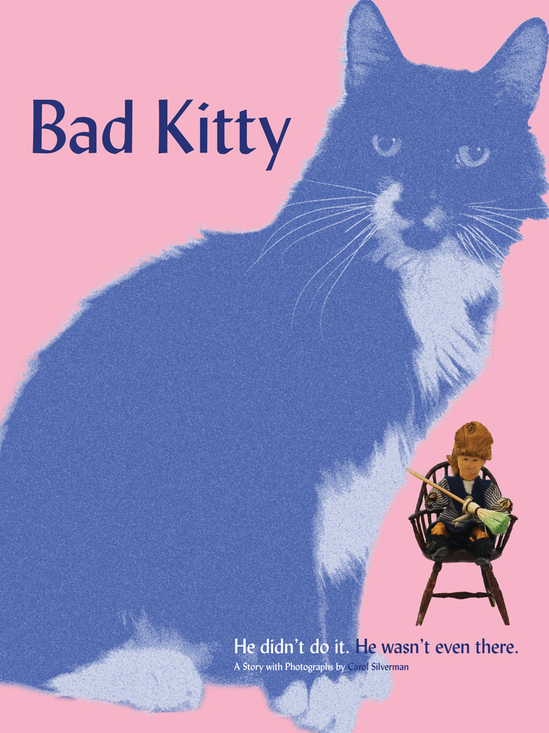 "Image for ""Bad Kitty,"" depicting a monochromatic textured image of a cat next to a small sculpted figure sitting in a chair with a broom against a flat pink background."