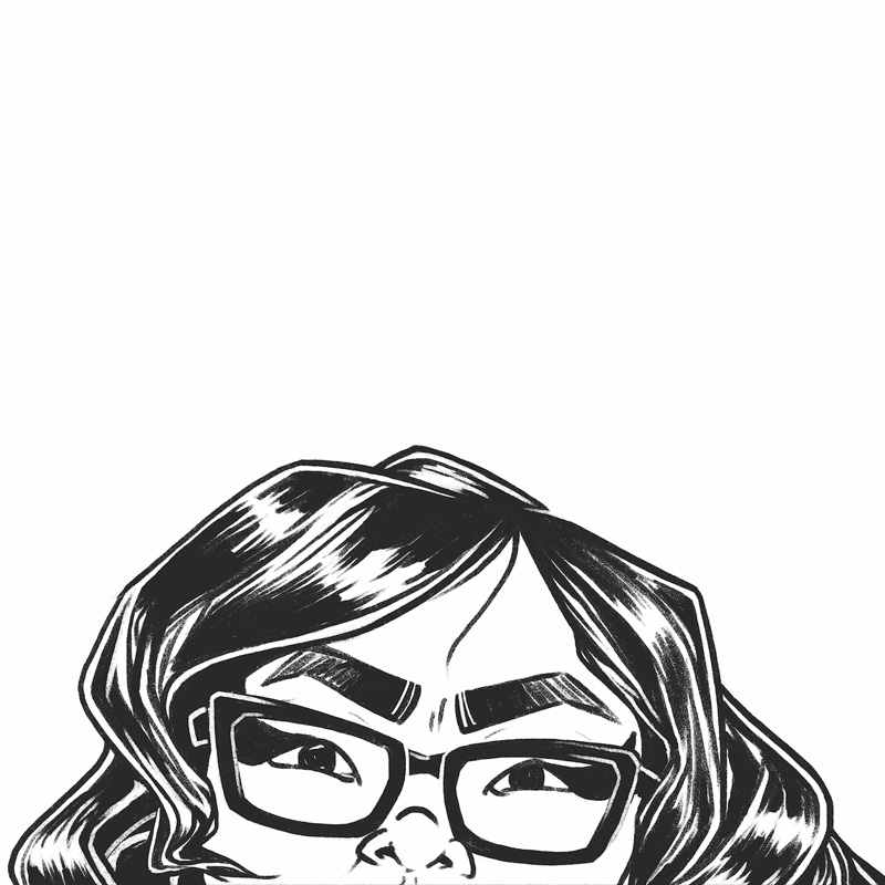 Black lineart of the upper half of a face with bold eyebrows, monolids with large eyeliner, rectangular glasses and long wavy hair.