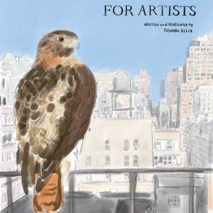 Digital illustration with rough mark making of a brown hawk on a railing on the left foreground, in front of a cityscape.