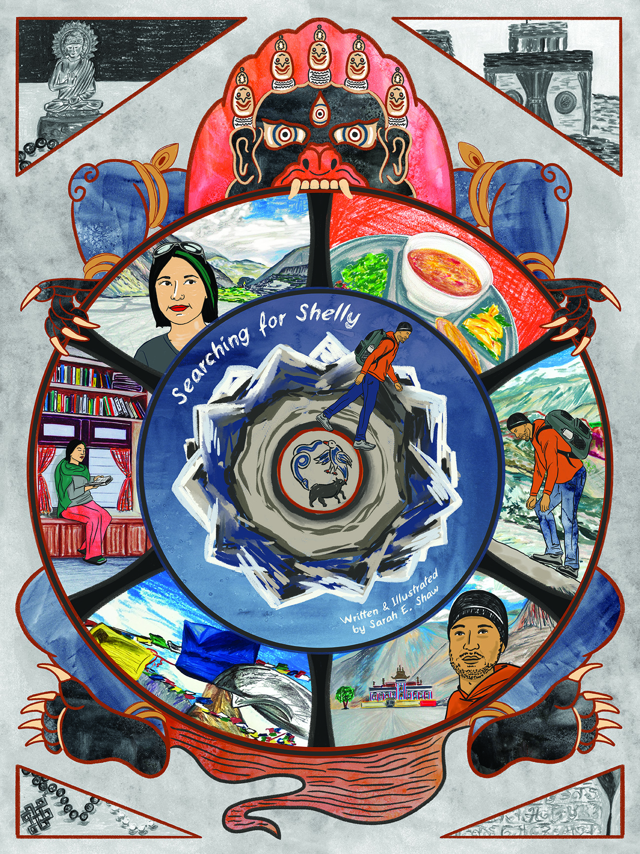 "Poster for ""Searching for Shelly"" with multiple panels of different events appearing in concentric circles."