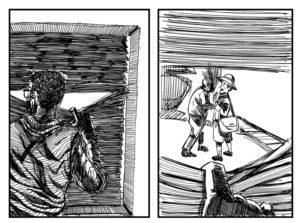 Ink drawing of a man with glasses peering out from behind the cracks in window blinds, looking at two other figures interacting.