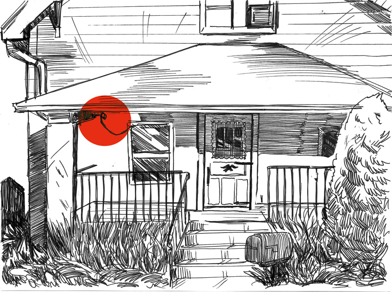 Ink illustration of the front of a house with a porch, black railing, and bushes and foliage in front.