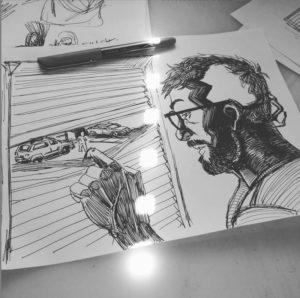 A photograph of drawings of a man with glasses looking out from a crack in his window blinds.