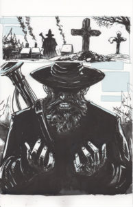 Inked comic page of a bearded man with a hat and gun, largely in shadow at a graveyard.
