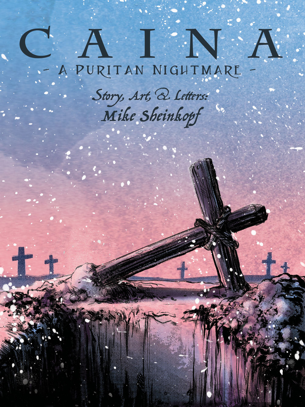 """Cover for """"Caina: A Puritan Nightmare"""" illustration using a blue and pink palette with dark inks, showing an open grave with a fallen cross grave marker in a field of crosses."""
