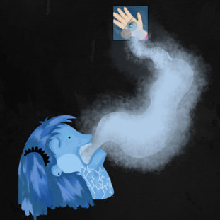 Illustration of a head with blue skin and hair and white veins in their neck, a trail of smoke emerging from their mouth and trailing up towards a panel of a light hand holding a locket.