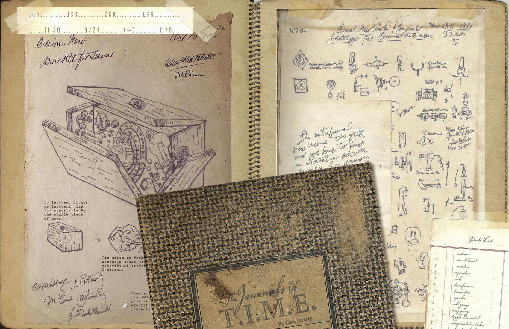 Photograph of various old notebooks and papers with diagrams and illustrations on them.