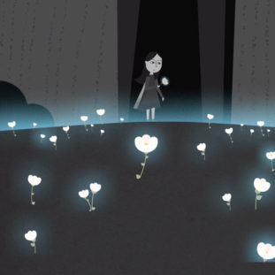 Dark illustration of a small child in a field of glowing white flowers.
