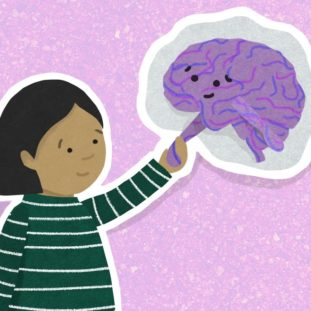 Child with brown skin, dark brown hair and a green and white striped shirt shakes hands with a cartoon purple brain with a smiley face.