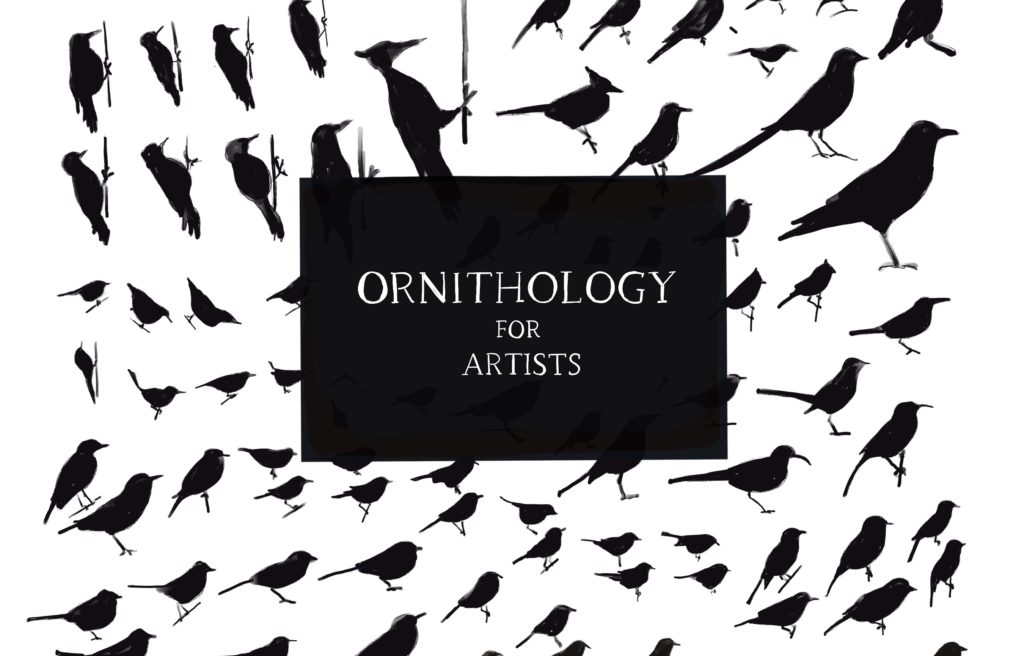 """Graphic silhouettes of various birds, with title in a black rectangle in the center, """"ORNITHOLOGY FOR ARTISTS"""""""