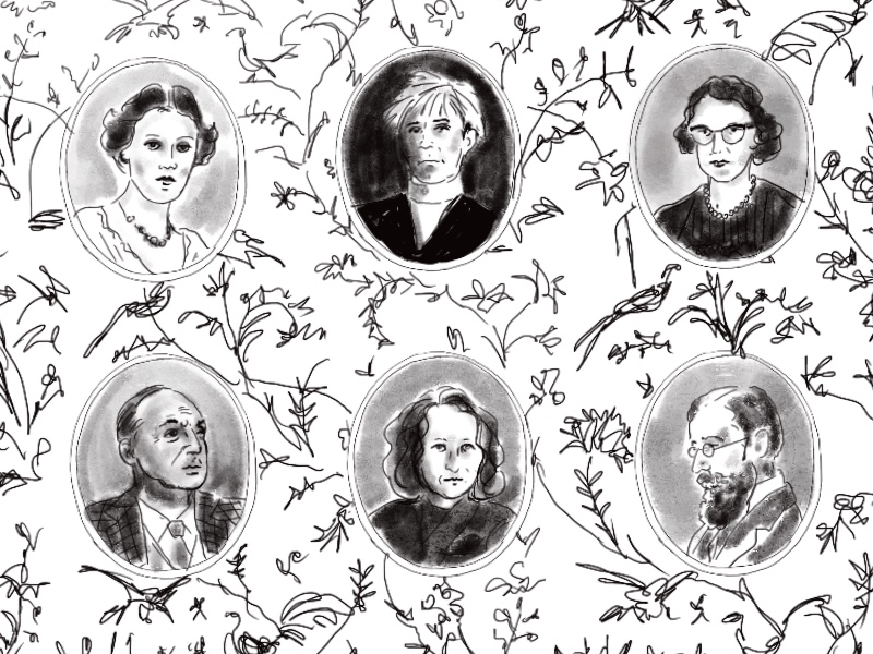 Black and white illustration of six portraits of various figures in oval frames against a floral background.